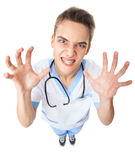 Crazy young doctor Royalty Free Stock Photos