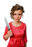 Crazy young female with big kitchen knife isolated Stock Photography