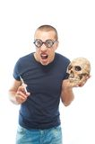 Crazy,young scientist in glasses Royalty Free Stock Photos