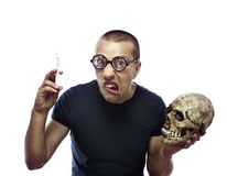 Crazy,young scientist in glasses Stock Photo