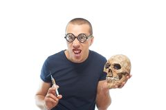 Crazy,young scientist in glasses Royalty Free Stock Photo