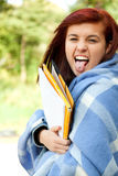 Crazy young student woman Stock Images