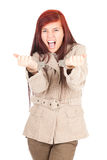 Crazy young woman in handcuffs Royalty Free Stock Photography