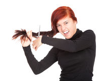 Crazy young woman with a scissors Royalty Free Stock Photography