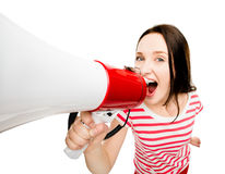 Crazy young woman shouting megaphone pretty cute isolated on whi. Crazy young woman shouting megaphone pretty cute Royalty Free Stock Image