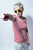 Crazy young woman with sunglasses Royalty Free Stock Photography
