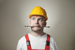 Crazy young worker Royalty Free Stock Image
