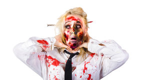 Crazy zombie business woman in struggle Royalty Free Stock Photos