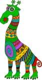Crazy zoo. Polynesian and african style tattooed cartoon alien giraffe,  illustration. Royalty Free Stock Photography