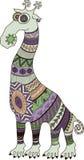 Crazy zoo. Polynesian and african style tattooed cartoon giraffe,  illustration. Royalty Free Stock Image