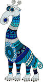 Crazy zoo. Polynesian and african style tattooed cartoon giraffe,  illustration. Royalty Free Stock Images