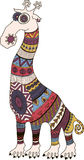 Crazy zoo. Polynesian and african style tattooed cartoon giraffe,  illustration. Stock Photos