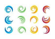 Círculo, agua, logotipo, viento, esfera, planta, hojas, alas, llama, sol, extracto, infinito, sistema del diseño redondo del vect Fotos de archivo