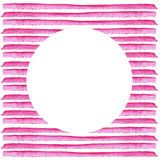 Círculo branco na listra cor-de-rosa pintada na aquarela Fundo retro do estilo Projeto do elemento para cartazes, etiquetas, band Imagens de Stock