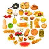 Círculo com lotes do alimento Fotos de Stock Royalty Free