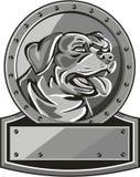 Círculo de Dog Shield Metallic del guardia de Rottweiler retro Imagen de archivo libre de regalías