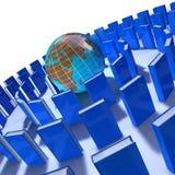 círculo de livros azuis Fotos de Stock