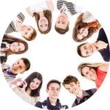 Círculo de los amigos aislados en blanco Imagen de archivo libre de regalías