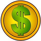 Círculo del oro de los iconos de la muestra de dólar Imagen de archivo libre de regalías