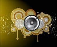 Círculos abstractos con las notas de la música Imagenes de archivo