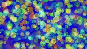 Círculos coloridos de piscamento no azul video estoque