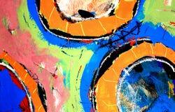Círculos de la pintura del fondo de los media mezclados Imagen de archivo libre de regalías