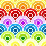 Círculos escalados arco iris inconsútil Imagenes de archivo