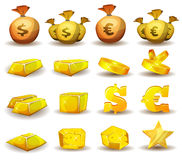 Crédito del oro, dinero, monedas fijadas para el interfaz del juego Imagenes de archivo