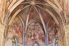 Córdoba - los frescos medievales de la aflicción de Cristo en el ábside principal de la iglesia Iglesia de San Lorenzo a partir d Imagen de archivo libre de regalías