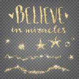 Crea en milagros Elementos decorativos brillantes de oro Estrellas, wa Imagen de archivo libre de regalías