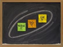 Crea, hacen, vivir él - concepto de motivación Fotografía de archivo