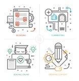 Creación Blogging y contenta stock de ilustración