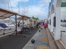 Creación del mercado de Lanzarote en el puerto deportivo Fotos de archivo libres de regalías