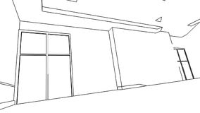Creación interior de la oficina, wireframe stock de ilustración