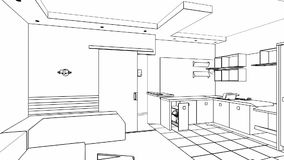 Creación interior, wireframe stock de ilustración