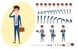 Creación joven del carácter del hombre de negocios fijada para la animación Sistema del individuo que actúa en traje usando smart stock de ilustración