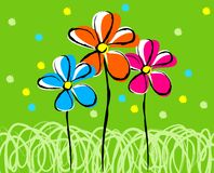 Creactivomx. Tree illustration flowers at spring field Royalty Free Illustration