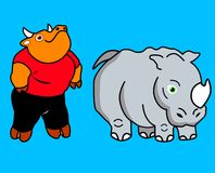 Creactivomx-181. Bull and Rhinoceros cartoon character comic friends Royalty Free Illustration