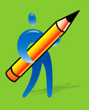 Creactivomx. Creative human with big pencil Vector Illustration
