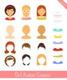Creador del avatar de la muchacha y avatares femeninos ilustración del vector