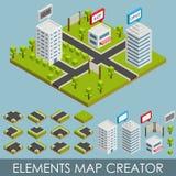 Creador isométrico del mapa de los elementos Foto de archivo libre de regalías