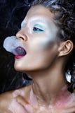 Creaitve Smoking Woman Portrait. Glamour Style Bright Makeup Royalty Free Stock Photography
