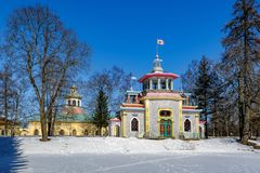 Creaking (Chinese) Summer-House in the Catherine park in Pushkin. Winter landscape in Landscape Park (the Catherine Park) with exotic pavilion known as the stock images
