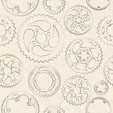Cream безшовная картина с шестернями и cogs Стоковые Фото