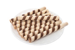 cream белизна waffle слойки плиты Стоковые Фотографии RF