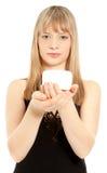 cream женщина опарника удерживания Стоковое Изображение RF