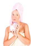 cream женщина предложения увлажнителя опарника Стоковые Фотографии RF