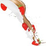 cream клубники выплеска Стоковое Изображение