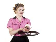 cream официантка сбора винограда sundae типа сервировки льда Стоковые Фото