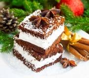 Cream печенья с хлопьями кокоса и украшением рождества Стоковое Изображение RF